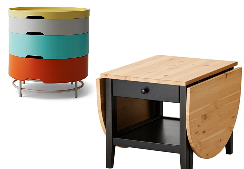 Table basse ronde avec poufs integres for Table ronde ikea
