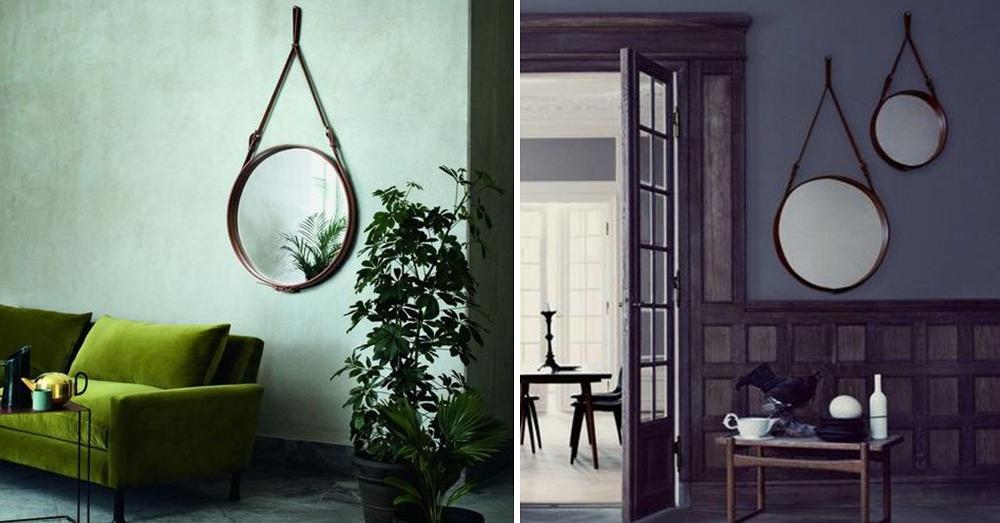 Diy miroir rond ceintur cuir esprit adnet bnbstaging for Miroir mural original