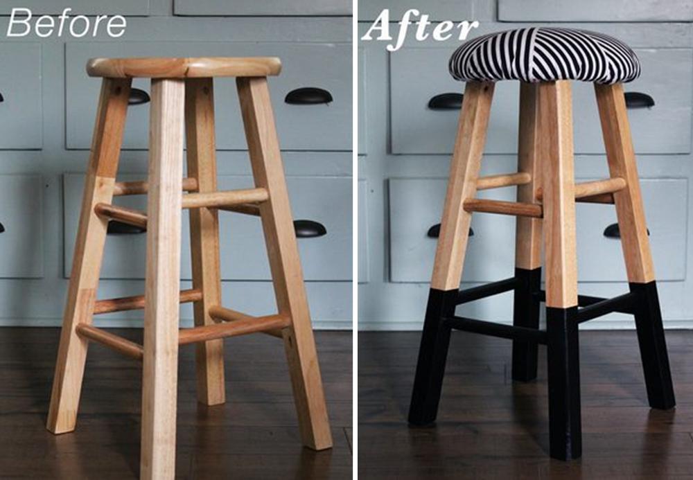 tapisser diy pour relooker un tabouret bnbstaging le blog. Black Bedroom Furniture Sets. Home Design Ideas