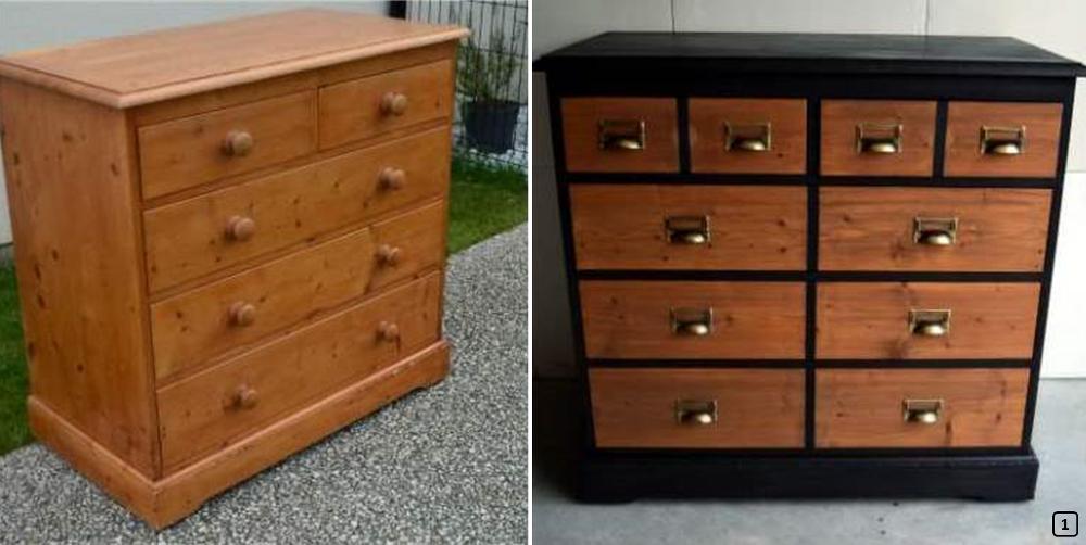 Old dresser painted in black color