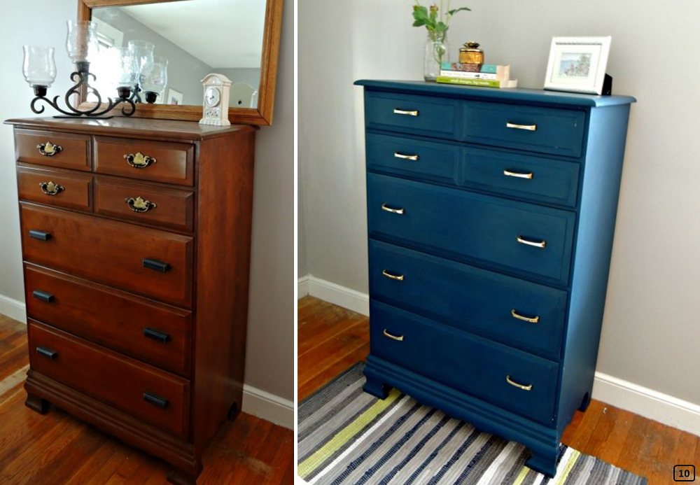 Old dresser turns contemporary with blue paint