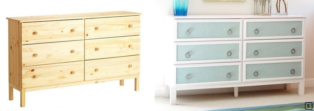 Wooden dresser revamped with blue textiles
