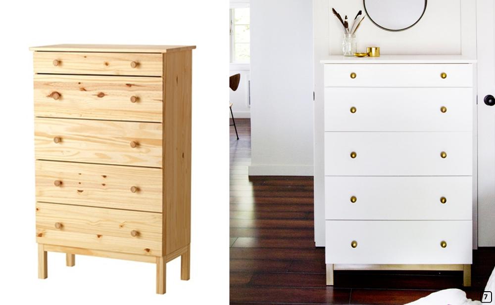 Raw wooden dresser tunred into a retro style