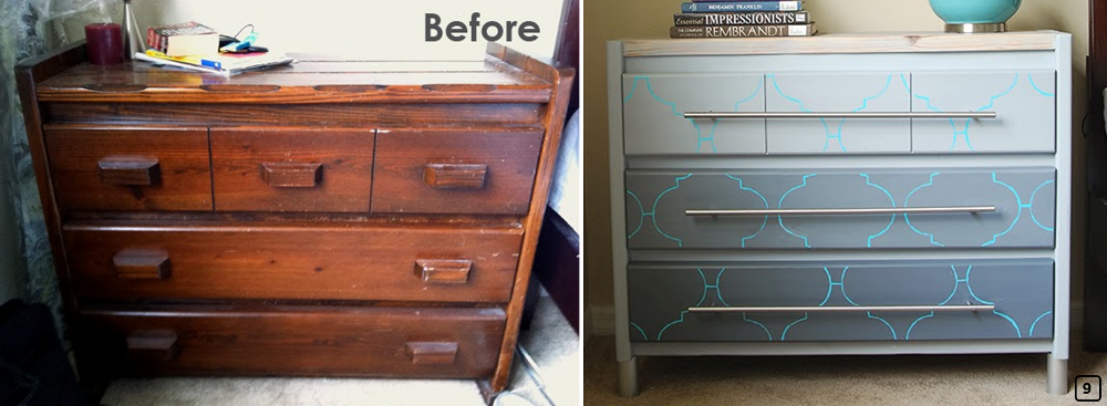 Old dresser painted with blue and grey colors