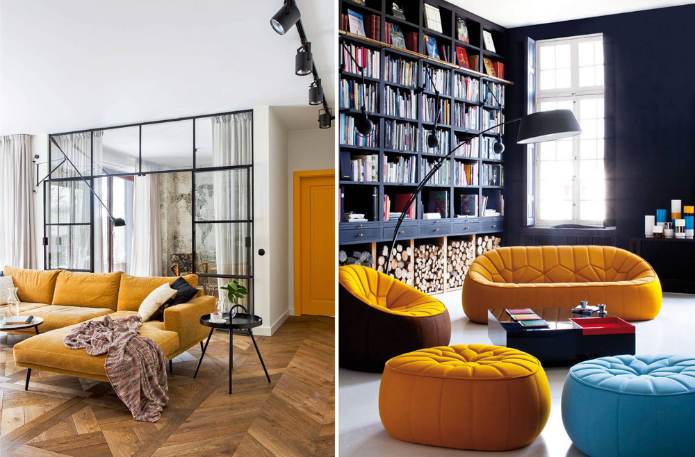 Industrial style with curry yellow furniture