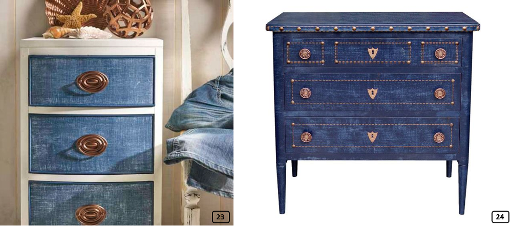 Revetement en denim sur des commodes