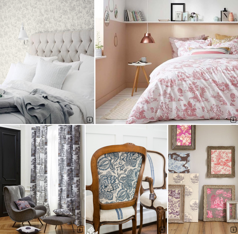 id es d co avec imprim s toile de jouy bnbstaging le blog. Black Bedroom Furniture Sets. Home Design Ideas