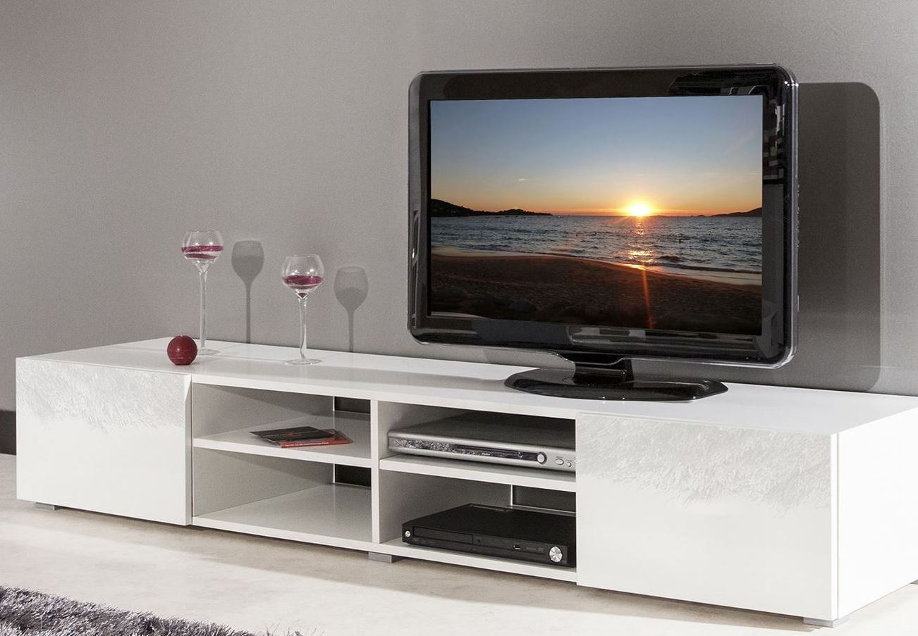 meuble tv alinea blanc laque valdiz. Black Bedroom Furniture Sets. Home Design Ideas